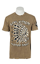 Affliction Men's Tobacco with Outlaw Tribe Design on Front Short Sleeve T-Shirt