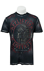 Affliction Men's Black Brush Wash Northern Lights T-Shirt