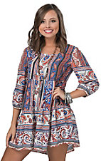 Umgee Women's Blue & Red Paisley Mixed Print 3/4 Sleeve Dress