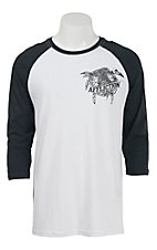 Affliction Men's White Crow Fall 3/4 Raglan Sleeve Tee