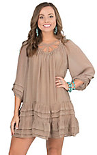 Umgee Women's Mocha with Ruffled Hem and Ruffled 3/4 Sleeves Tunic Dress