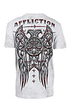 Affliction Men's White Royal Connect Taping Short Sleeve T-Shirt