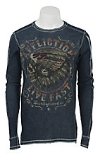 Affliction Men's Navy/Slate Blue AC Native Muscle Long Sleeve Reversible Thermal