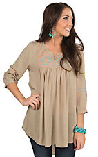 Umgee Women's Taupe with Aztec Embroidery 3/4 Sleeve Peasant Tunic Fashion Top
