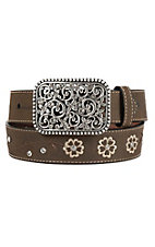 Ariat Children's Brown Flower Embroidered Leather Belt