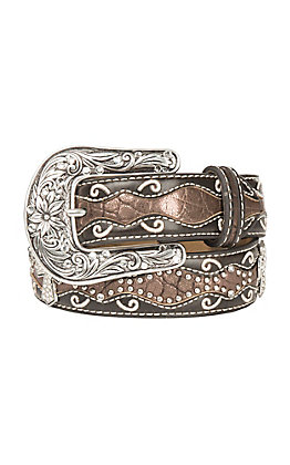 Ariat Girl's Chocolate with Rhinestone Cross Conchos Western Belt