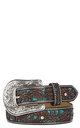 Children's Ariat Brown & Turquoise with Floral Overlay Western Belt