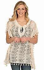 Surf Gypsy Women's Ivory Crochet Tassel Poncho Top