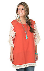 Umgee Women's Papaya with Cream Floral Crochet & Tassels 3/4 Sleeve Tunic