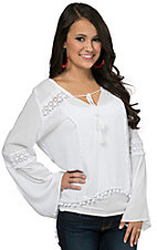 Surf Gypsy Women's White with Floral Crochet & Pom Pom Trim Long Sleeve Top