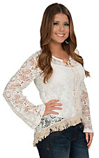 Surf Gypsy Women's White Floral Crochet with Fringe Long Sleeve Top