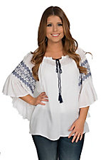 Surf Gypsy Women's White with Navy Embroidery 3/4 Bell Sleeve Top