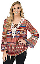 Umgee Women's Burgundy & Blue Multi Print Long Sleeve Chiffon Fashion Top