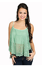 Ocean Drive Sea Mist Mint Crochet Flowy Cropped Tank Fashion Top
