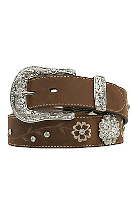 Ariat Distressed Brown with Embroidered Scrolling Flowers & Crystals Women's Scalloped Belt  A1510202