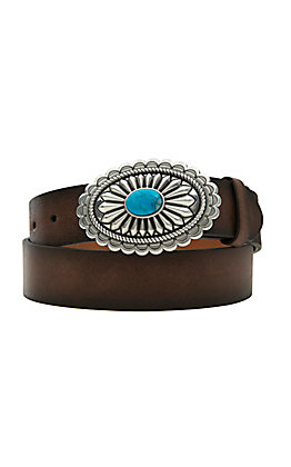 Ariat Women's Brown and Oval Buckle with Turquoise Center Belt