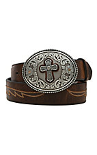 Ariat Brown with Cross Concho & Embroidered Wings Cross Buckle Women's Belt A1512202