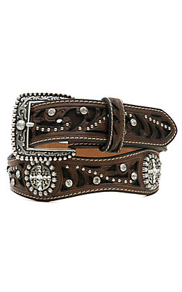 Ariat Brown Scroll Inlay with Crystals Women's Scalloped Belt A1513002