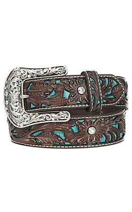 Ariat Women's Brown Tooled with Turquoise Inlay and Silver Buckle Leather Belt