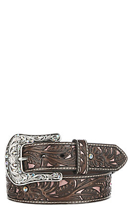 Ariat Women's Brown Floral Embroidered Tooled Belt
