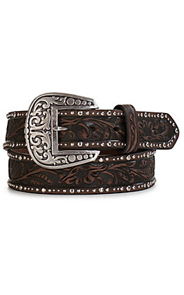 Ariat Women's Dark Brown with Floral Tooling and Studs Trim Belt