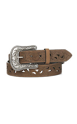 Ariat Women's Dark Brown with Etched Scrolling Western Belt