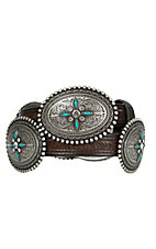 Ariat Women's Brown Embossed Leather with Silver & Turquoise Oval Conchos Belt A1516002
