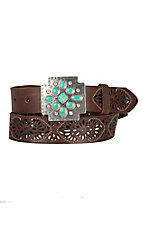 Ariat Women's Brown Leather with Silver & Turquoise Cross Buckle Belt  A1516402