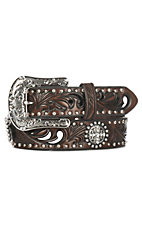 Ariat Women's Chocolate Brown Tooled Cutouts with Round Conchos Buckle Belt