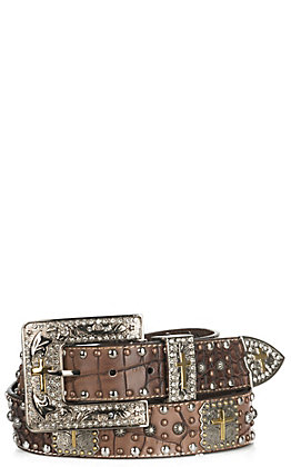 Ariat Women's Large Crocodile Faux Leather with Cross Concho Buckle Belt