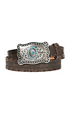 Ariat Women's Dark Brown Lace Stitch with Silver & Turquoise Buckle Belt