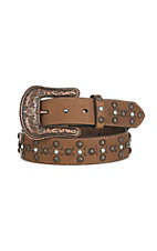 Ariat Women's Brown with Antiqued Copper Conchos Buckle Belt
