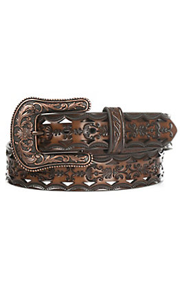Ariat Women's Brown Tooled with Bronze Buckle Belt