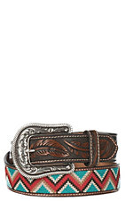 Ariat Women's Brown Tooled with Chevron Stitching Buckle Belt