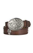 Ariat Women's Brown with Cross Concho and Silver Buckle Leather Belt