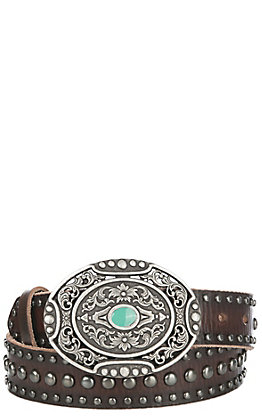 Ariat Women Distressed Studded Silver Belt Buckle Belt