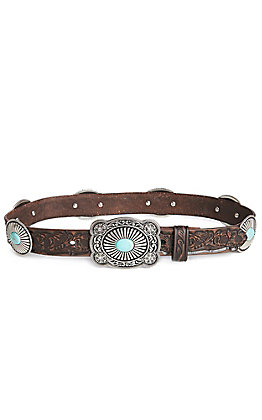 Ariat Women's Floral Turquoise Concho Scroll Tooled Belt