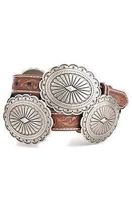 Ariat Women's Brown Tooled with Silver Oval Floral Conchos Belt