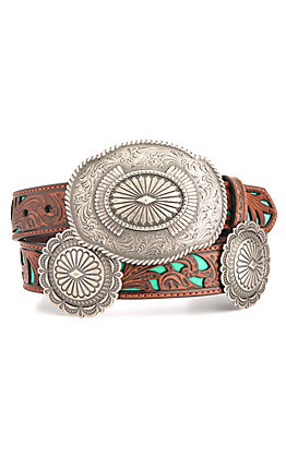 Ariat Women's Brown Tooling with Turquoise Inlay Circle Concho Belt