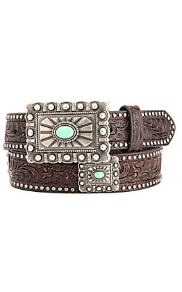 Ariat Women's Chocolate Brown Floral Tooling with Square Conchos Belt