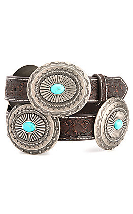 Ariat Women's Dark Brown Floral Tooled with Silver & Turquoise Conchos Belt