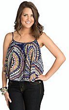 Ocean Drive Women's Navy with Colorful Circle Print Chiffon Tank