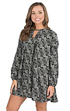 Umgee Women's Black with White Floral Print Long Cinched Sleeve Tunic Dress