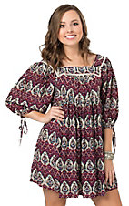 Umgee Women's Wine Mixed Print Elbow Length Sleeve Dress