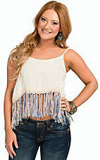 Surf Gypsy Women's Ivory Gauze Fringed Tank
