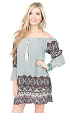 Umgee Women's Cream with Burgundy and Teal Multi Print Bell Sleeve Dress