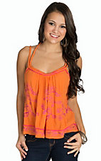 Surf Gypsy Women's Orange with Pink Embroidery Swing Tank