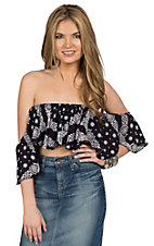 Surf Gypsy Women's Navy Bandana Ruffle Bandeau Fashion Top