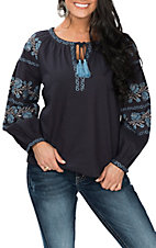 Cowgirl Legend Women's Navy with Embroidery Peasant Fashion Shirt