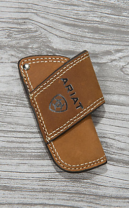 Ariat Brown Side Draw with Embossed Logo Knife Sheath